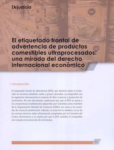 Etiquetado frontal de advertencia de productos comestibles ultraprocesados: una mirada del derecho internacional económico | comprar en libreriasiglo.com